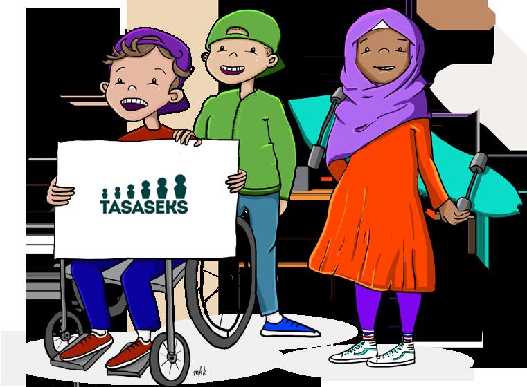 Tasaseks-seksuaalikasvatusmallin kuvituksena kolme lasta