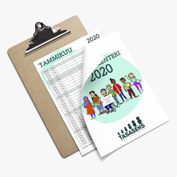 Tulostettavan ilmaisen Tasaseks-perhekalenteri 2020:n tuotekuva